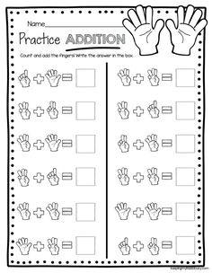 ADDITION - kindergarten worksheets to practice addition - equations - pictures - easy math center #noprep #kindergarten Kindergarten Addition Worksheets, Homeschool Worksheets, Addition Activities, Homeschooling, Preschool Math, Kindergarten Activities, Kindergarten Classroom, Teaching Math, Easy Math