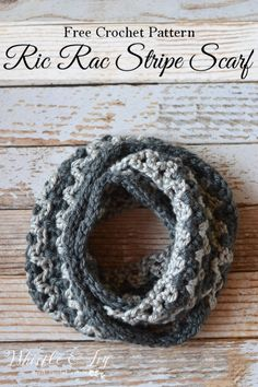 Ric Rac Striped Scarf - Make this quick and chunky crochet scarf with this free pattern.