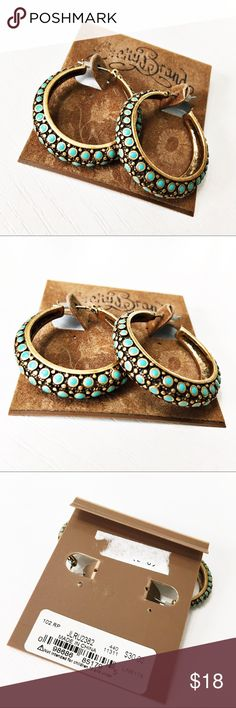 "NWT Lucky Brand Turquoise and Gold Hoop Earrings These earrings are so gorgeous and perfect to complete any boho look! Length of hoop is 1-1/2"" long and width of the hoops are 1/4"". New with tags on original card. Questions? Please ask! Sorry, no trades. Bundle for a discount! Ships SAME day (EST) - New name brand jewelry added daily so check back often! Lucky Brand Jewelry Earrings"