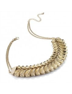 GOLD CURVED LINK LADIES FASHION NECKLACE - Chunky Necklaces - Necklaces - Jewellery