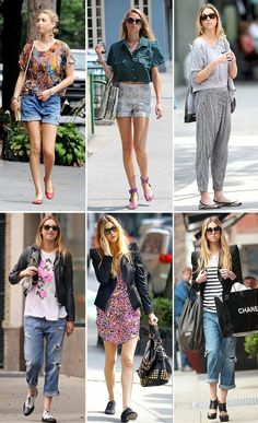 love this girls taste; especially the 3 outfits in the top row. Boxy tops.. flowy pants.. purple shoes. She makes it work!