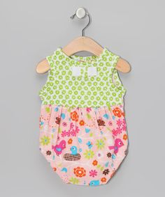 Light Green & Peach Floral Bubble Bodysuit - Infant by CyBaby on #zulily