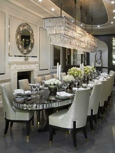 Luxury 24 Modern Table Dining Room Design In 2019 - Home Decor Interior Luxury Dining Room, Elegant Dining Room, Dining Room Sets, Dining Room Design, Dining Room Table, Mirror Dining Table, Formal Dinning Room, Luxury Interior, Room Interior