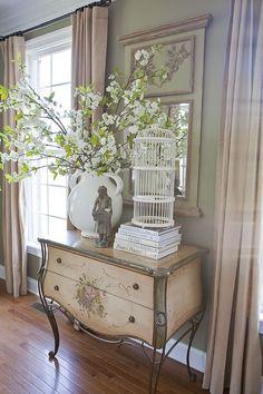 DIY pottery barn arrangement copycat. Cute idea for summer decorating touches. Love the birdcage.