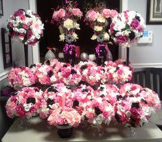Pink, black & white flower arrangements – made for a 50th birthday celebration.