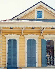 new orleans art, creole cottage, yellow home decor, blue wall art, french quarter art, travel photog
