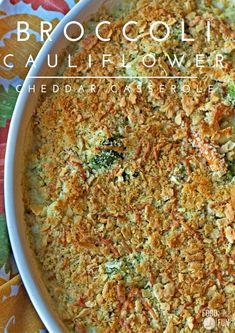 This Broccoli Cauliflower Cheddar Casserole is super quick & easy to prepare! Make it as a tasty side dish for your Thanksgiving table! | Thanksgiving Recipe | Thanksgiving Side Dish