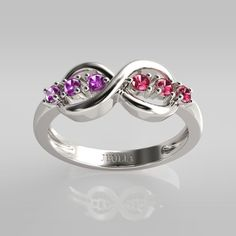 Infinite Created Violet Sapphire & Ruby Rhodium Plated Sterling Silver Women's Ring