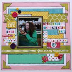 Scrapbook Layout Papercrafting Echo Park Here & Now