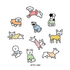 Art Drawings For Kids, Cartoon Drawings, Animal Drawings, Doodle Characters, Cute Journals, Dog Illustration, Cute Stickers, Animal Paintings, Dog Art