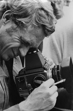 "Steve McQueen-behind the lens On this day in we lost the ""King of Cool."" So in his memory, today's second über-cool celebrity with an über-cool camera: STEVE McQUEEN and his Zenza Bronica medium format roll-film camera!"
