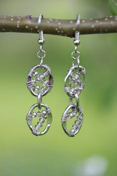 Silver Wire Wrapped Crystal Dangle Earrings by JPAdornments