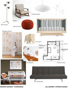 Furnishings concept board for a client's mid century modern nursery.