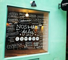 #Cafe window graffiti, great stuff.   Felicidad deli+café | Buenos Aires
