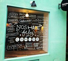 #Cafe window graffiti, great stuff. Felicidad deli+café | Buenos Aires http://www.guiaoleo.com.ar/restaurantes/Felicidad-7783