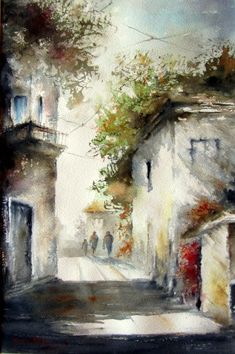 Watercolor Painting – KraveWorldWide – Join in the world of pin Watercolor Pictures, Watercolor Landscape Paintings, Watercolor Canvas, Landscape Drawings, Landscape Art, Watercolor Techniques, Painting Techniques, Images D'art, Beautiful Paintings