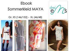 Nähanleitungen Mode - ebook Kleid MAYA Gr.146/152 (XS) - 46/48 (XL) - ein Designerstück von dreiems-Materialshop bei DaWanda