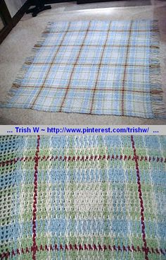 Woven Scotch Plaid afghan, free pattern by American Thread Company; worked in 4 colors, DC mesh background (warp) with yarn strands woven through (weft). Pic from Ravelry Project Gallery by redhead.  . . . .   ღTrish W ~ http://www.pinterest.com/trishw/  . . . .  #crochet #blanket #throw #color