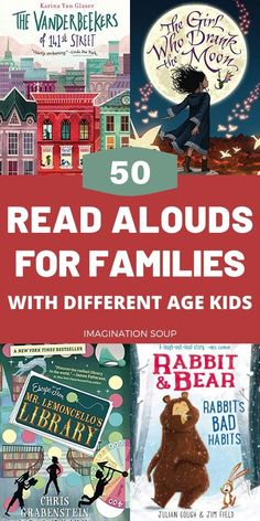 Brilliant Family Read-Aloud Books for Kids of Different Ages Find read-aloud chapter book ideas that appeal to different ages of kids for at home family reading time or while taking a road trip. Read Aloud Books, Good Books, My Books, Books For Kids, Story Books, Kids Reading, Reading Time, Reading Lists, Home Reading