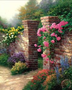 The Rose Garden Painting by Thomas Kinkade                                                                                                                                                                                 More