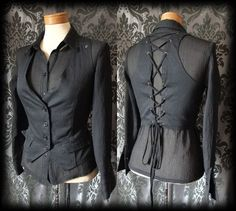Gothic Black Lace Up FIENDISH Fitted Corset Waistcoat 10 12 Victorian Vintage - £24.00