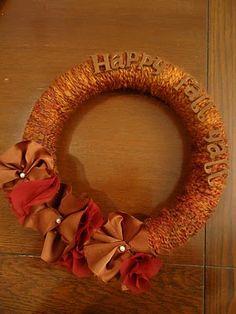 for Colte's Gma's birthday, I think. Fall Yarn Wreaths, Diy Yarn Wreath, Wreath Crafts, Holiday Wreaths, Wreath Tutorial, Diy Tutorial, Make Your Own Wreath, Fun Diy Crafts, Craft Fairs