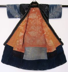 Infant's patchwork kimono Cotton Stenciled paste resist, clamp resist Patched together from a variety of expensive textiles, this creatively...