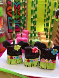 Amazing Rice Krispie treats at a Hawaiian luau Minnie Mouse birthday party! See more party ideas at CatchMyParty.com!