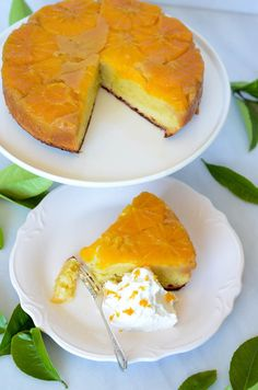 Honey-Orange Upside Down Cake with Honey-Bourbon Whipped Cream | CaliGirl Cooking