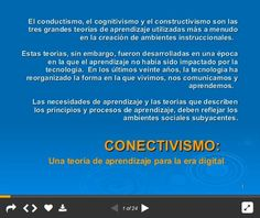 Conectivismo y el Aprendizaje en la Era Digital - Marco de Referencia | #Presentación #Educación Educational Technology, Vestidos, Constructivism, Psicologia, Tecnologia, Thoughts, Instructional Technology