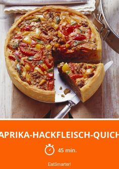 Paprika-Hackfleisch-Quiche Pepper and minced meat quiche - smarter - time: 45 min. Healthy Meat Recipes, Meat Recipes For Dinner, Hamburger Meat Recipes, Egg Recipes, Crockpot Recipes, Breakfast Recipes, Vegetarian Recipes, Hamburger Casserole, Meatloaf Recipes