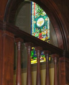 02-01-14 Interior woodwork and stained glass window, Flagler Memorial Presbyterian Church, St. Augustine, FL