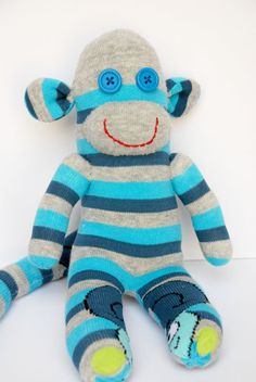 Blue Sock monkey Baby shower gift Toddlers toy . OOAK Birthday present Personalized gift Stuffed animal blue stripes