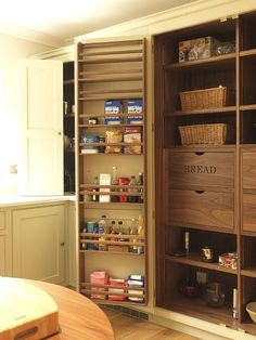 English style fitted larder cabinet. Storage in the pantry and the doors.