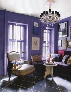 Purple Room.  While I usually think it's little girls who want a purple room, this is a quite sophisticated lady room.  I like!