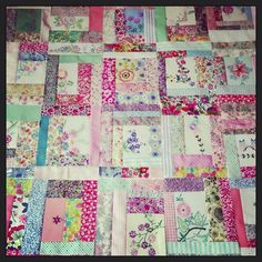 vintage embroidered linens all chopped up and sewn into sweet little blocks! (thanks, HenHouse for the inspiration)