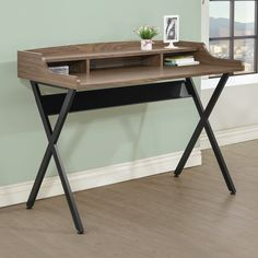 Features:  -Finish: Walnut/Black.  Desk Type: -Writing desk.  Top Finish: -Light brown.  Base Finish: -Black.  Top Material: -Manufactured Wood/Metal.  Base Material: -Manufactured Wood/Metal. Dimensi