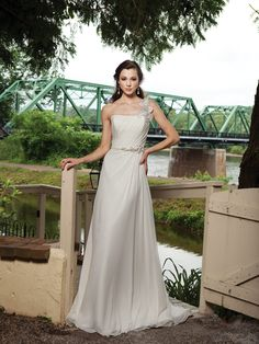 2012 One-Shoulder Beaded Satin Chiffon Wedding Gown $323.36 A-Line