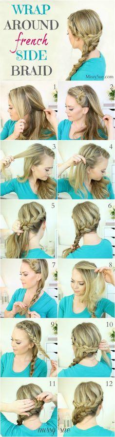 Wrap Around French Side Braid Hairstyle Tutorial