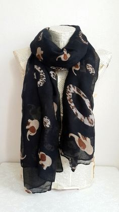 Elephant Print  Scarf Winter Scarf Elephant Scarf by HeraScarf