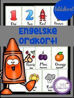 Her får du ordkort med de engelske temaene tall, frukt, farger og vær. Pakken inneholder ordene: One, two, three, four, five, six, seven, eight, nine, ten Red, blue, yellow, orange, green, white, black, pink, brown, grey, purpleFruit, berries, banana, apple, plum, orange, pear,