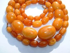 Antique Butterscotch Amber Kahraman Beads Necklace  24 grams - No Reserve