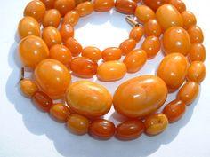 Antique Butterscotch Amber Kahraman Beads Necklace  24 grams - No Reserve