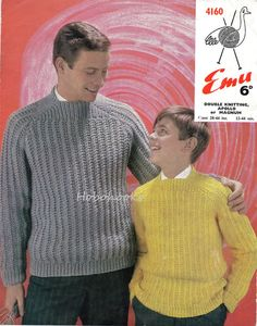 Mens Sweater Knitting Pattern Mens/Boys Square Neck by Hobohooks