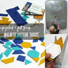 """Looking for ways to use up your pretty wool felt scraps? Tired of throwing away all those cheap promotional magnets? Learn how to make magnetic felt pattern """"blocks"""" - the perfect handmade toy for preschoolers!"""