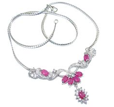 $82.50 Secret+Beauty!+AAA+Pink+Ruby+&+White+Topaz+Sterling+Silver+necklace at www.SilverRushStyle.com #necklace #handmade #jewelry #silver #ruby