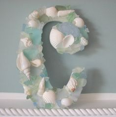 Beach Decor Sea Glass & Shell Wall Letters w White Shells and Any Color Sea Glass