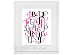 Alphabet Script 8x10 Giclée Print, You Choose As Many Colors as You'd Like, Perfect Gift for a Nursery or Baby Shower. $15.00, via Etsy.