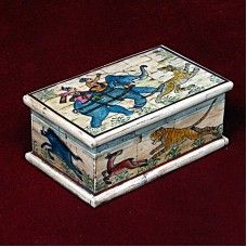Bone made Box With Hunting Picture looks agile and lively. The handmade box is made of bone, and decorated with pictures of hunting and kings.  It can be perfect to adore your home.Note: This is Handcraft Item so each item will be different than other due to limitation of photography