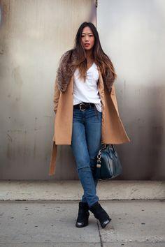 faux fur collar coat with denim  pamela love x nine west boots